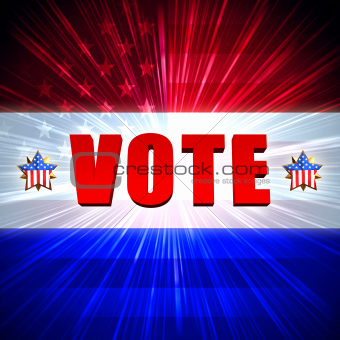 vote with shining american flag and stars