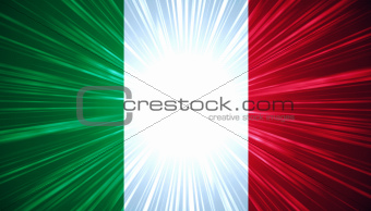 Italian flag with light rays