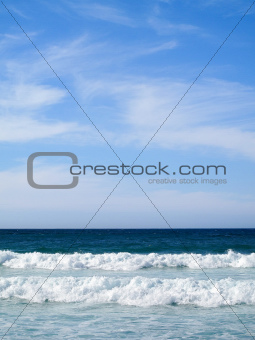 Beautiful landscape with waves breaking on shore