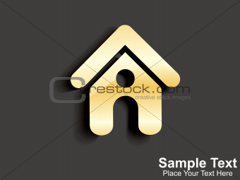 abstract golden home icon