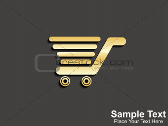 abstract golden shoping tray icon