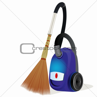 A vacuum cleaner with a broom