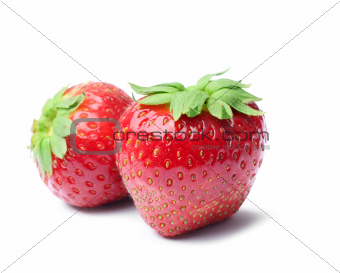 Two fresh strawberries