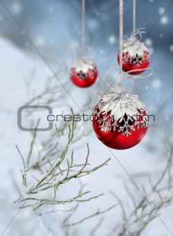 Red Xmas balls snowfall fantasy
