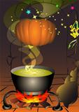 The magic pumpkin is turned above the boiler with a boiling magical potion