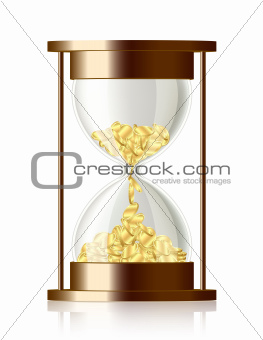 Time is money . Coins falling in the hourglass.
