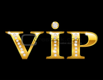 Vip card with golden letters and diamonds