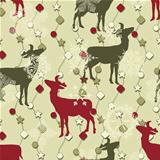 Vector Winter Seamless Pattern with Christmas Decoration, Deers,
