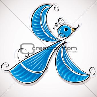 Blue bird artistic illustration.