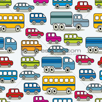 Cartoon retro cars seamless pattern.