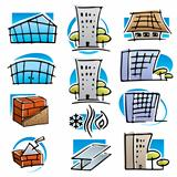 Real estate and construction icons set.