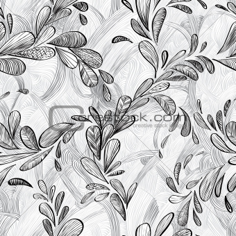 Abstract monochrome lined floral background.