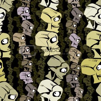 Cartoon skulls seamless background.