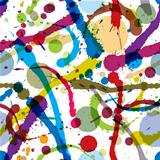 Splatters and drops seamless pattern.