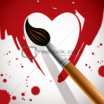 Heart painted with brush.