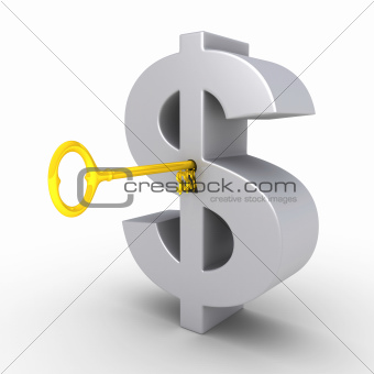 Dollar-key in the keyhole of dollar symbol