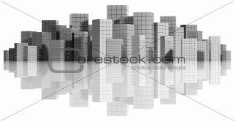 City panorama isolated.
