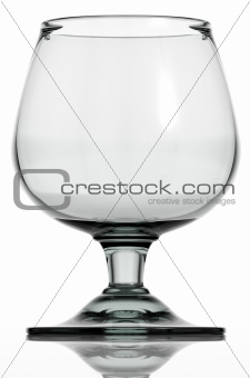 Empty cognac glass isolated.