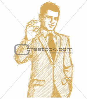 Sketch happy businessman in suit shows OK