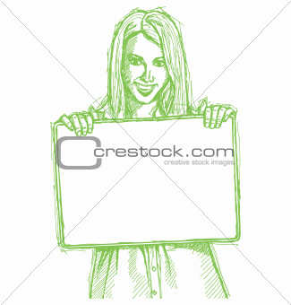 Sketch happy business woman holding blank white card