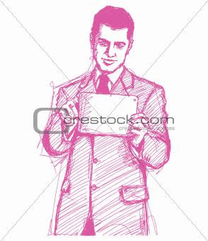 Sketch Businessman With I Pad