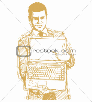 Sketch Businessman With Open Laptop In His Hands