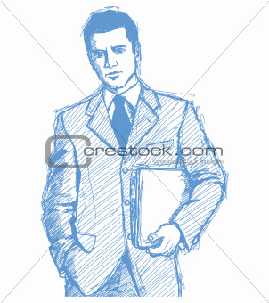 Sketch Businessman With Laptop