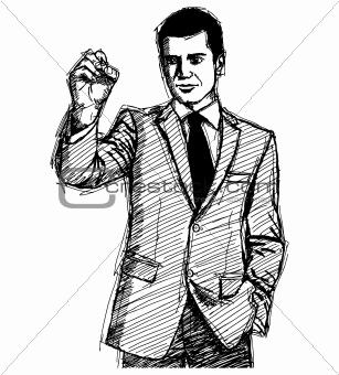 Sketch Businessman Writing Something
