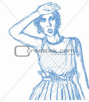 Sketch surprised girl