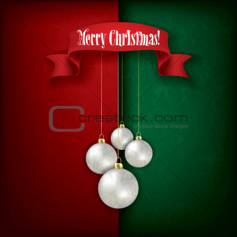 grunge greeting with Christmas decorations on red green backgrou