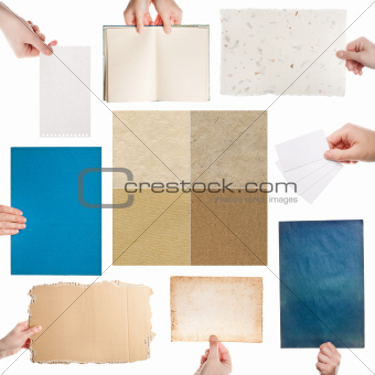 Hands and paper set