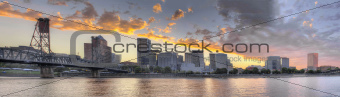Sunset Over Portland Oregon City Skyline