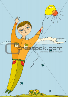 boy flies by a balloon