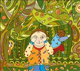 Children's play in woods