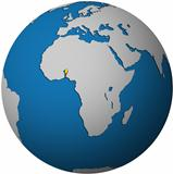 benin flag on globe map