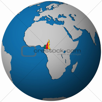 cameroon flag on globe map
