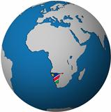 namibia flag on globe map