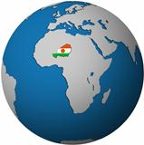 niger flag on globe map