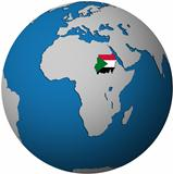 sudan 2012 flag on globe map