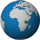 tanzania flag on globe map