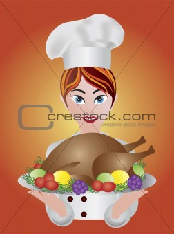 Woman Chef  with Roast Turkey Dinner Illustration