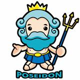 The sea and the water god Poseidon