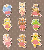 cartoon animal ballerina dancer stickers