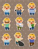 cartoon worker stickers