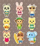 cartoon summer animal stickers