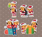 cute cartoon Christmas Holiday,animal santa, stickers