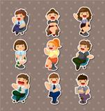 cartoon happy office workers  stickers