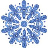 Blue ornamental round lace