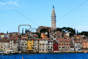 The City of Rovinj on Istria Peninsula in Croatia Lit By Morning