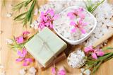 Sea Salt and Handmade Soap with Flowers